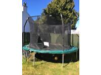 12 ft JumpKing trampoline, with tie down kit. Recently replaced outer padding and safety enclosure.