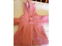 Fluffy pink coat 3-6 months