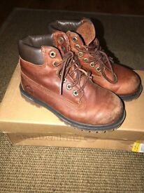 Boys Brown Tan Leather Timberland Boots size 11