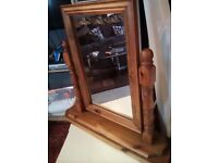 OLD Solid Pine dressing table or table top Mirror width 64cm Height 60cm depth 18cm NN9 Finedon