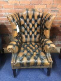 Vintage Mustard Chesterfield Leather Wing Chair - UK Delivery