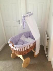 MJ Mark Ophelia large wicker crib with solid wheels