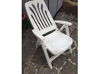Plastic reclining garden chair