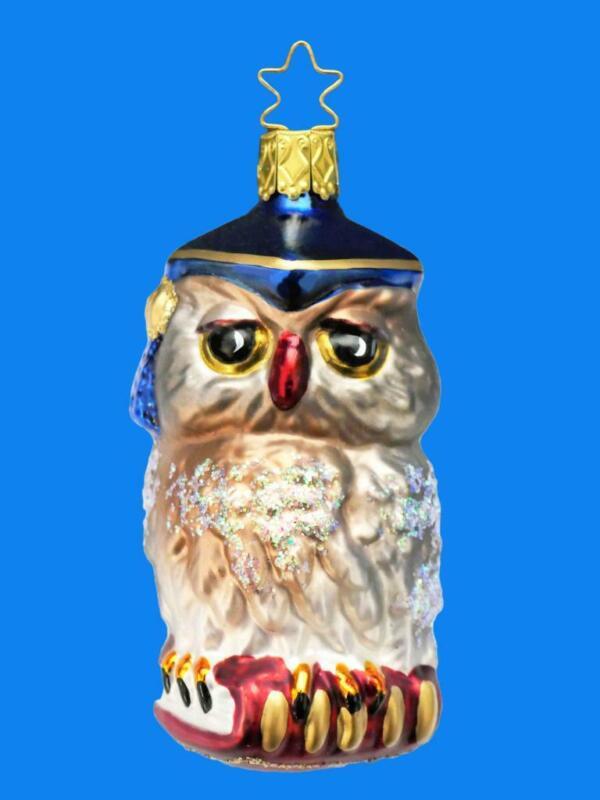 BLUE  INGE GLAS PROFESSOR OWL GERMAN BLOWN GLASS CHRISTMAS TREE ORNAMENT