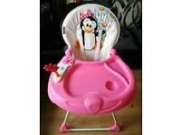 Jolly Pink Penguin High Chair