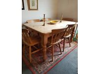 solid pine kitchen table and chairs, country farmhouse 6 chairs