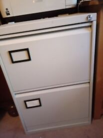 2 drawer filing cabinet grey metal old but servicable