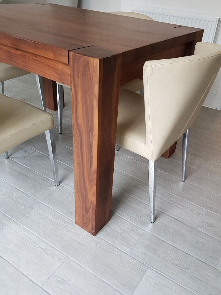 Baumhaus chunky solid walnut wood dining table seater