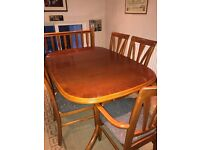 Extendable Dining Table, 4 Chairs + Matching Carver Chair