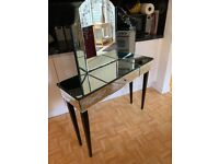 Laura Ashley Elisse Etched Vintage Style Glass dressing table with front drawer and 3 way mirror