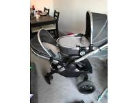I candy peach 3 double pushchair in truffle,