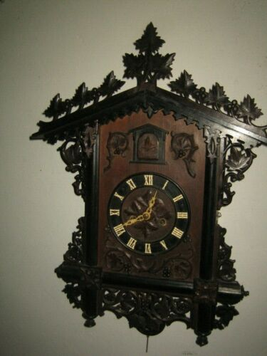 BEAUTIFUL, RARE BEHA LARGE CUCKOO CLOCK DOUBLE FUSEE  CIRCA 1865