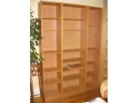 Billy bookcases from IKEA - EXCELLENT condition in natural wood veneer - 2 narrow and 1 wide £50