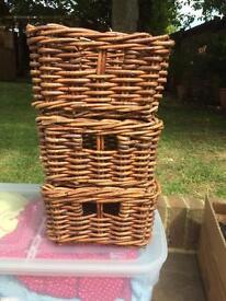 Three Hand-woven Storage Baskets