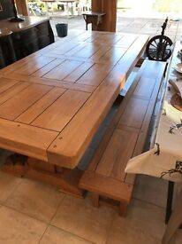 French Farmhouse Table and Benches - Solid Oak