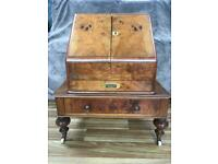 Antique Victorian Walnut Stationery Cabinet Box and Mini Table