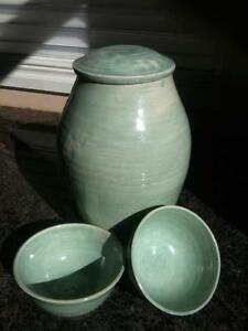 Pottery Vase + 2 matching Bowls +Lid. Unbelievable  price