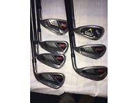 VGC CALLAWAY RAZR X IRONS 5-PW WITH A CALLAWAY FUSION 56* SW ALL WITH REGULAR FLEX GRAPHITE SHAFTS