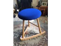 Wave Stool (Pine/blue) - as new