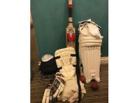 Slazenger Complete White Cricket Kit Set Nearly New *BARGAIN* Balls Bat Kneepads Gloves Helmet Cup..