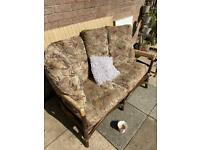 Rattan style Comfy seater with cushions £45
