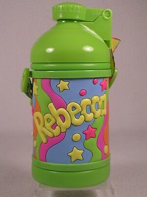My Name Drink Bottle 'Rebecca' Soft, Colorful Green With Built in Straw (Bottle Green Drink)