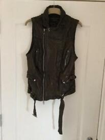 Leather sleeveless allsaints jacket