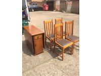 Oak Drop Leaf Dining Table and 4 Matching Chairs