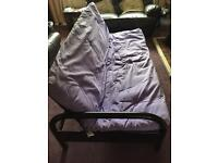 Futon sofa bed frame and purple topper