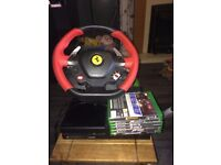 xbox 1 with Ferrari wheel and guitar hero