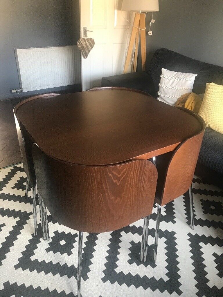 Hideaway Dark Wood Table And 4 Chairs