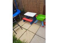 kids picnic table with two benchs