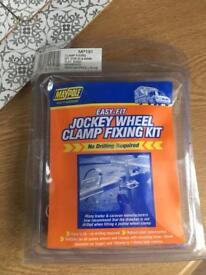Caravan Trailer jockey wheel fixing clamp set with split clamp Brand new unused