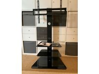 BONTEC TV Floor Stand / Unit with 3 Tempered Glass Shelves