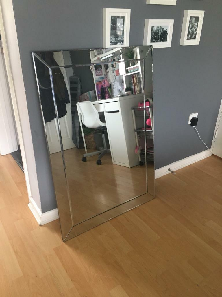 Large bevelled wall mirror