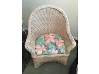 White Anerican Style Rattan Bedroom Chair