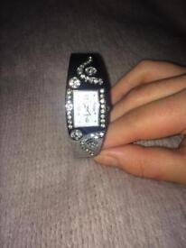 Silver bracelet snap on ladies watch