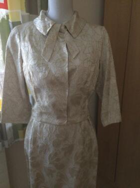 Vintage 60er 50er Shift Wiggle 2 Teilig Standesamt Kleid Hochzeit In