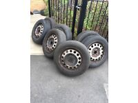 6 BMW Steel 4 stud wheels with get you home 175-65R15 tyres £15 Each