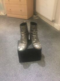 Gold sparkle boots