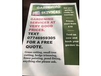 Gardening services, grass cutting, fence painting,pond fitting, ext