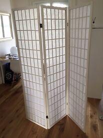 TOKYO White Handmade Wood and Paper 3 Pane Room Divider