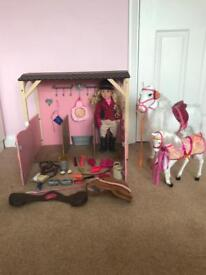 Our Generation stable, horses and doll