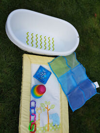 Baby bath, changing mat, IKEA pocket, toys