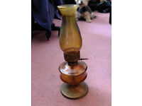 Vintage Brown glass oil lamp