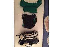 Rugby kit: boots, socks, shorts and scrum hat
