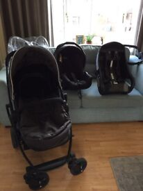 Graco grey and black Pram with matching car seat, cosy toes, rain cover and base for car