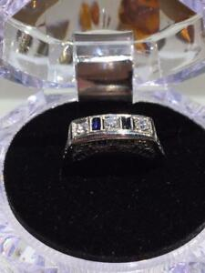 #1289 FANCY ESTATE COCKTAIL RING, 18KT DIAMONDS & SAPPHIRES. SIZE 6 3/4. APPRAISED VALUE: $1,550, OUR PRICE: $495