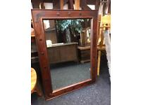 NICE CHUNKY WOODEN FRAMED MIRROR WITH METAL DETAILI