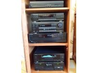 Kenwood stacking hifi system with surround sound speakers